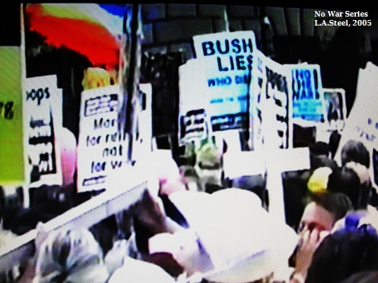 Crowd with Bush Lies Sign