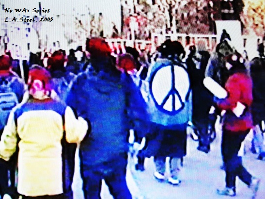 Peace sign on marcher