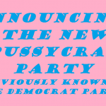 the pussycrat party announcement