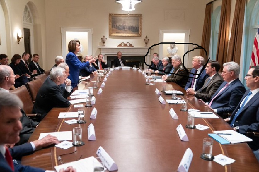 pelosi shames president sharpie and his generals meeting 2019