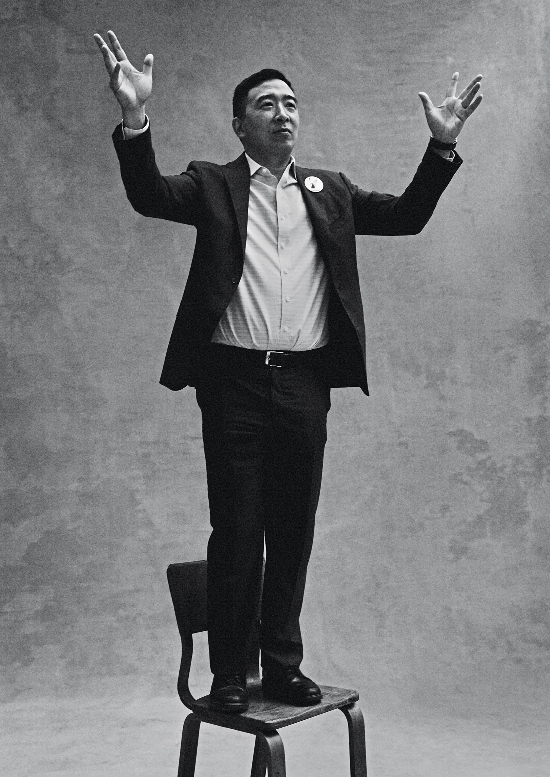 andrew-yang standing on chair