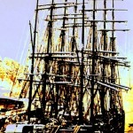A Tall Ship Tied in Harbor (color enhanced from b/w)