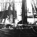 Ship at Dock B/W Photograph
