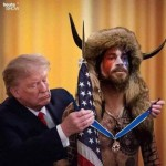 Trump giving horned guy the freedom medal 2021